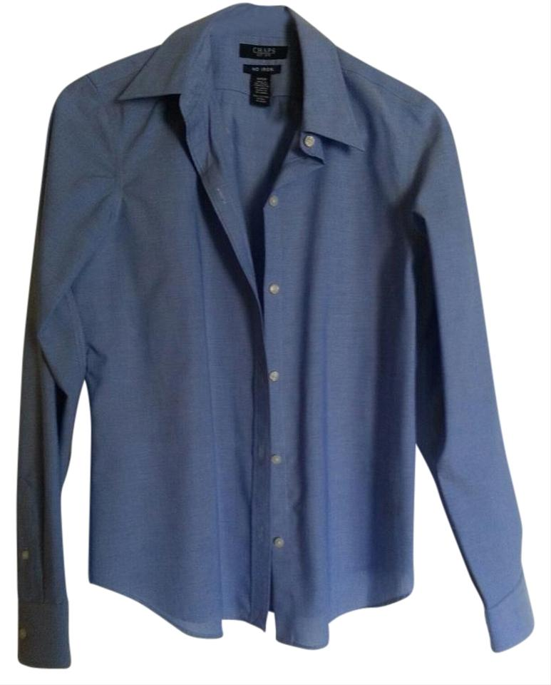 Chaps blue women 39 s solid no iron shirt top 61 off retail for Best no iron shirts