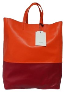 Céline & Shoppers Leather Tote in Orange and Red