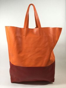 Cline & Shoppers Leather Tote in Orange and Red