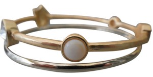 Chico's CHICO'S Set of 2 Gold Tone Bangle Bracelets w/ White Stone Insets NEW