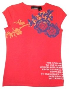 DKNY Floral Design T Shirt Orange
