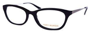 Tory Burch Women's Black and Silver Eyeglasses Optical Frame