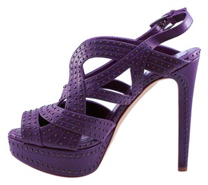 Dior Leather Studded High Heel Purple Platforms