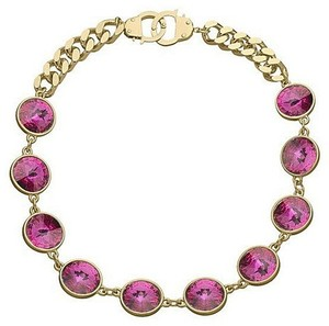 eklexic Fuchsia Crystal & Cuffs Necklace (Gold)