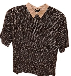 Liz Claiborne Top Black/cream and cream collar