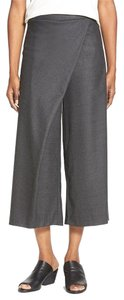 Eileen Fisher Sarong Wrap Stretch Wool Relaxed Pants CHARCOAL
