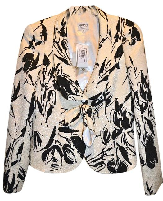 Item - Ivory and Black Print Collezini Couture Dressy Cocktail Jacket White Blazer Size 6 (S)