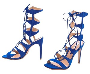 SCHUTZ Suede Sandal Stiletto Cobalt Blue Sandals