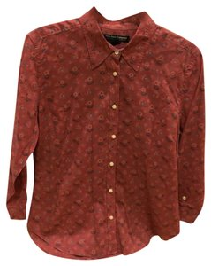 Polo Jeans Company Button Down Shirt Muted cranberry color with flowers.