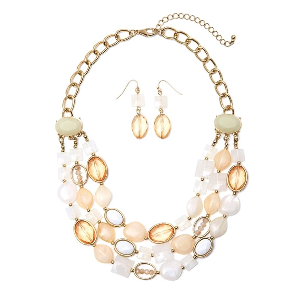 mariell ivory beige multi row statement necklace
