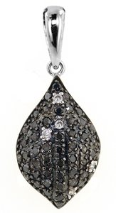 ABC Jewelry 1/3 Ct Black Drop Dangle Pendant. All 14kt White Gold Pendant