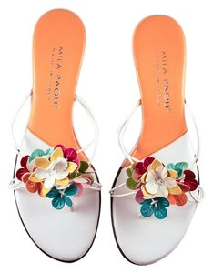 Mila Paoli Leather Floral White/Multi Sandals