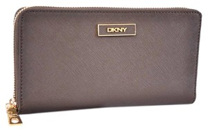Donna Karan New DKNY Donna Karan Khaki Saffiano Leather Zip Around Wallet Clutch