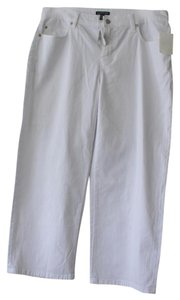 Eileen Fisher Stretch Denim Wide Leg Crop Relaxed Pants WHITE