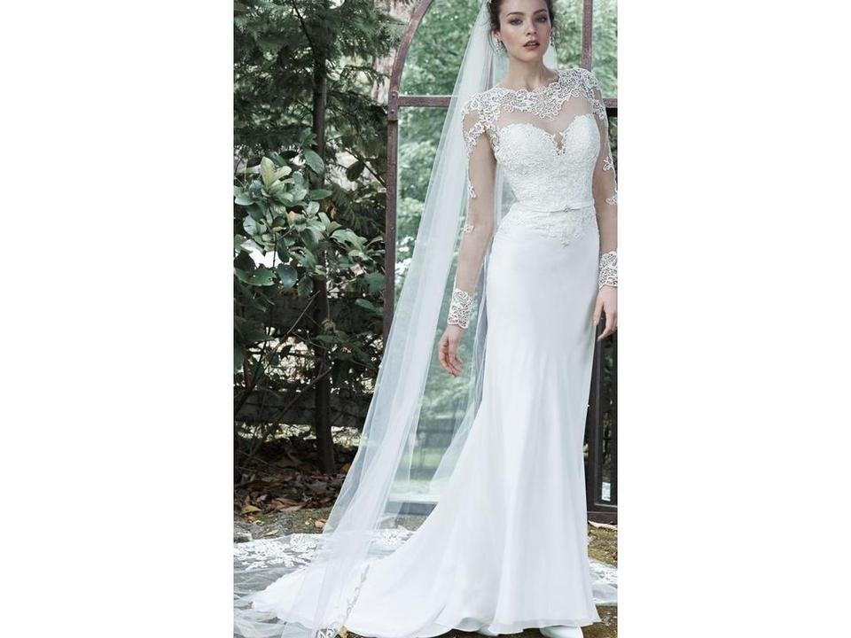 Maggie Sottero Ivory Chiffon/Lace Vaughn 5mt663 Traditional Wedding ...