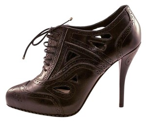 Dior Leather Oxford Cut Outs High Heel Black Boots