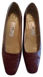 Etienne Aigner Brown Moc Crocodile Pumps