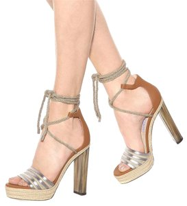 Jimmy Choo Rope European Platform Luxury Silver/Canyon Sandals