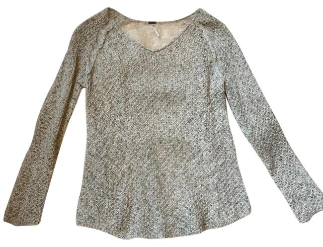 Poof! Apparel W Loose Knit W/ Lace Back Cream Sweater Poof! Apparel W Loose Knit W/ Lace Back Cream Sweater Image 1
