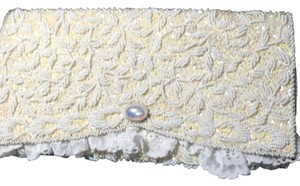 Other Bridal Hand Beaded Evening White Clutch