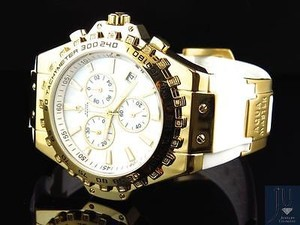 Aqua Master Mens Aqua Master Gold Finish Signature Mop Dial Diamond Watch W337 0.26 Ct
