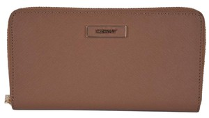 Donna Karan DKNY Donna Karan Walnut Brown Saffiano Leather Zip Around Wallet