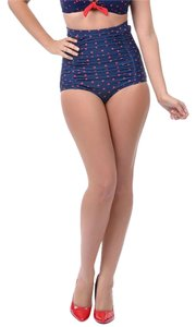 Unique Vintage Navy Polka Dot High Waisted 50s Retro Pinup Swim Bottoms