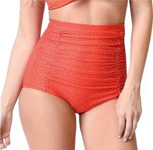 Unique Vintage New Red Polka Dot High-Waisted 50s Retro Pinup Swim Bottoms