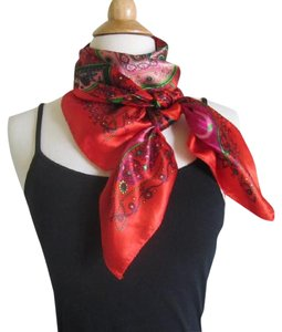 Other Square Silk Scarf Twill 90cm x 90cm Red Paisley Bohemian Print