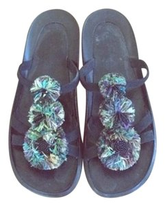 Robert Clergerie France Jewel Summer Flower Black Green Blue Sandals