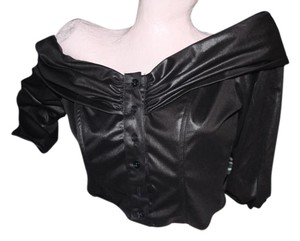 Saucy Off Sexy Sexy Button Front Faux Leather Button Down Shirt black