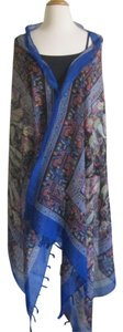 Other Blue Beach Scarf Fringed Swim Cover-Up Boho Paisley Print Tassel