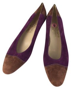 Salvatore Ferragamo Two-tone Suede Flats Purple/Brown Pumps