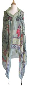 Other Green Beach Scarf Fringed Swim Cover-Up Boho Paisley Print Tassel