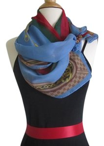 Blue Red Green Chiffon Scarf Striped Print Oblong Scarf