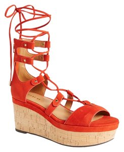 Coach Gladiator 70's Suede Leather Red Sandals