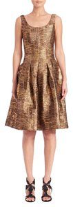 Oscar de la Renta Metallic Silk Fit & Flare Store Display Never Worn Dress