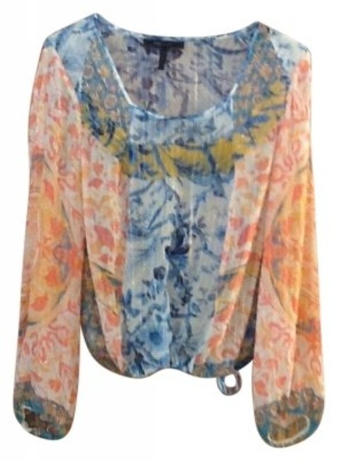 Preload https://img-static.tradesy.com/item/183648/bcbgmaxazria-pastels-peach-blue-yellow-white-blouse-size-12-l-0-0-650-650.jpg