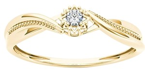 Elizabeth Jewelry 10Kt Yellow Gold Diamond Twist Design Ring