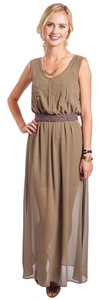 Olive Maxi Dress by Coveted Clothing Sheer Sleeveless Mid Thigh