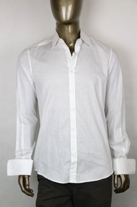 Gucci Men's White Fitted Cotton Dress Shirt French Cuff 41/16 269056 9000