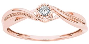 Elizabeth Jewelry 10Kt Rose Gold Diamond Twist Design Ring