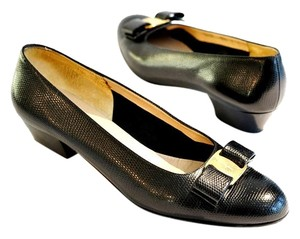 Salvatore Ferragamo Lizard Vara Embossed Black Pumps