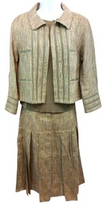 Chanel CHANEL TAUPE BROWN LINEN BLEND 3-PC. SKIRT SUIT 40