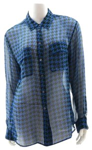 Equipment Femme Button Down Shirt Blue, green and black