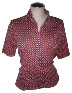 Lanvin Mod 1960's Style Button Down Shirt red, white, & blue print
