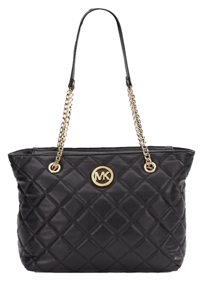 fd710701d8c1 Michael Kors Fulton Quilted East West Top Handle Black and Gold Leather Tote