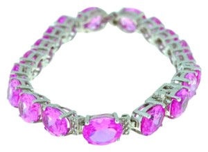 Other 28.5 Ct Pink Sapphire & Diamond Bracelet .925 Sterling Silver