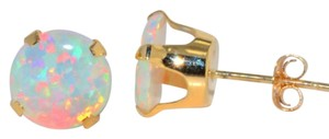 Other 14Kt Yellow Gold Opal Round Stud Earrings