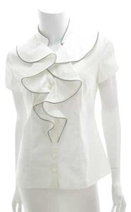 Catherine Malandrino Zipper Edge Zipper Details Top White